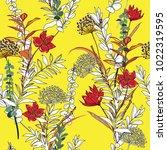 trendy seamless pattern garden... | Shutterstock .eps vector #1022319595