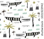 seamless childish pattern with... | Shutterstock .eps vector #1022323942