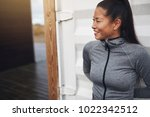 young asian woman in running... | Shutterstock . vector #1022342512