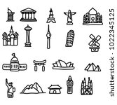 travel landmarks icon set... | Shutterstock .eps vector #1022345125