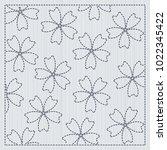 sakura flowers in the frame.... | Shutterstock .eps vector #1022345422