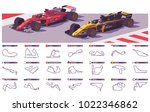 vector motor racing tracks... | Shutterstock .eps vector #1022346862
