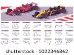 vector motor racing tracks... | Shutterstock .eps vector #1022346862