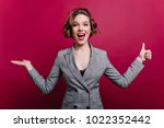 excited business woman in... | Shutterstock . vector #1022352442