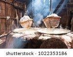rock salt from boiled saltwater.... | Shutterstock . vector #1022353186