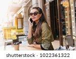 elegant girl with long dark... | Shutterstock . vector #1022361322