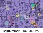 vector seamless pattern with... | Shutterstock .eps vector #1022368492