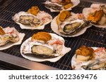 seafood grill   street food in...   Shutterstock . vector #1022369476