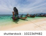 railay beach with colorful long ... | Shutterstock . vector #1022369482