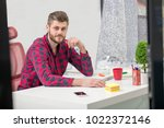 concentrated on work.... | Shutterstock . vector #1022372146