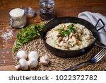 chicken mushroom  risotto ... | Shutterstock . vector #1022372782