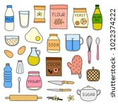 set of doodle colored cooking ... | Shutterstock .eps vector #1022374222