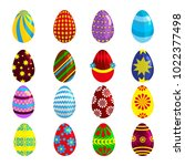easter eggs icons. vector... | Shutterstock .eps vector #1022377498