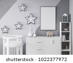 modern design in child interior ... | Shutterstock . vector #1022377972