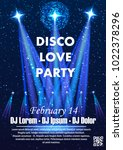 disco night party vector poster ... | Shutterstock .eps vector #1022378296