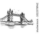tower bridge handmade... | Shutterstock .eps vector #1022378962