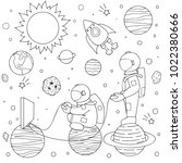 hand drawn two funny astronauts ... | Shutterstock .eps vector #1022380666