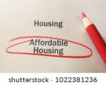affordable housing text circled ... | Shutterstock . vector #1022381236