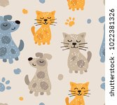 childish seamless pattern with... | Shutterstock .eps vector #1022381326