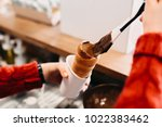 cooking of trdelnik. delicious... | Shutterstock . vector #1022383462