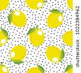 lemon pattern. seamless... | Shutterstock .eps vector #1022384962