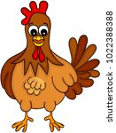 happy farm chicken  | Shutterstock .eps vector #1022388388