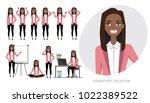 set of emotions for black... | Shutterstock .eps vector #1022389522