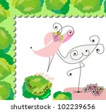 greeting with a baby elements.... | Shutterstock .eps vector #102239656