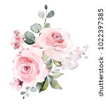 Stock photo decorative watercolor flowers floral illustration leaf and buds botanic composition for wedding 1022397385