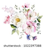 Stock photo decorative watercolor flowers floral illustration leaf and buds botanic composition for wedding 1022397388