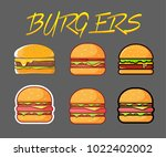 set of burgers with different... | Shutterstock .eps vector #1022402002