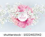 chrysanthemums and apple... | Shutterstock .eps vector #1022402542