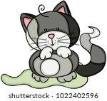 cute gray cat  | Shutterstock .eps vector #1022402596