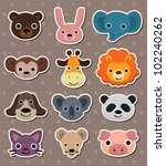 animal face stickers | Shutterstock .eps vector #102240262