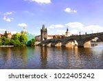 charles bridge in prague ... | Shutterstock . vector #1022405242