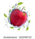 red apple in water splash ... | Shutterstock . vector #102240715