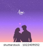 romantic silhouette of loving... | Shutterstock .eps vector #1022409052