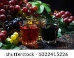assortment of grape juice on... | Shutterstock . vector #1022415226