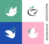 peace dove. flat style vector... | Shutterstock .eps vector #1022415946