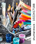 artistic equipment.  brushes... | Shutterstock . vector #1022417188