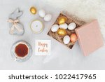 easter decoration. nest with... | Shutterstock . vector #1022417965