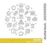 collection of bakery thin line... | Shutterstock .eps vector #1022433532