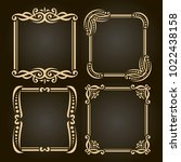 vector set of decorative golden ... | Shutterstock .eps vector #1022438158