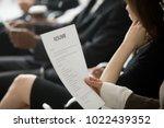 unemployed woman applicant...   Shutterstock . vector #1022439352