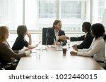 company boss handshaking... | Shutterstock . vector #1022440015