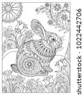 Spring Rabbit Coloring Page Fo...