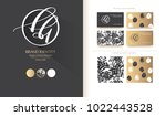 luxury brand line logo with... | Shutterstock .eps vector #1022443528