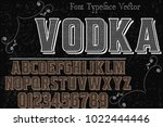 vintage font handcrafted vector ... | Shutterstock .eps vector #1022444446