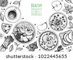 breakfasts top view frame.... | Shutterstock .eps vector #1022445655