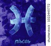 pisces icon of zodiac  vector... | Shutterstock .eps vector #1022445772